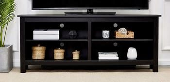11. Rock point Sumy 58-Inch Wood TV Stand, Piano Black
