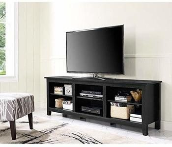 14. 70-Inch Essentials Black TV Stand High-Grade MDF