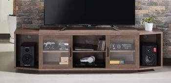 15. 70-inch TV Stand - with Multiple Storage - Chestnut Brown Wood