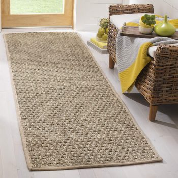 Safavieh Natural Fiber Collections BasketWeaver Natural and Beige Summer Seagrass Runner