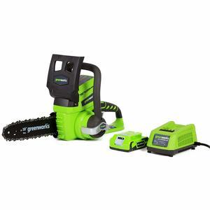 1. Greenworks 10-Inch 24V Cordless Chainsaw