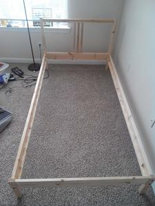 10. Ikea Twin Bed Frame Solid Wood with Headboard