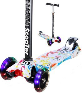 12. EEDAN Scooter for Kids Adjustable Height Handle Kick Scooters PU Flashing Wheels for Children from 5 to 14 Year-Old