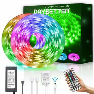12. Led Strip Light Waterproof 32.8ft 10m Flexible Color Changing 5050 600leds LED Strip Light Kit with 44 Keys Remote Controller and 12V Power