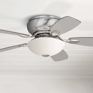 16. 44 Casa Habitat Modern Hugger Ceiling Fan with Light LED Silver White Blades Frosted Glass for Living Room Bedroom Family Dining - Casa Vieja