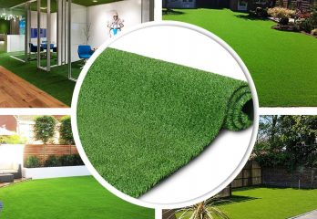 GL Artificial Turf Grass Lawn, Realistic Synthetic Grass Mat