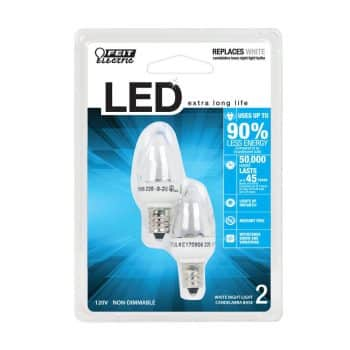 Felt Electric BPS/LED Three LED Night Light Bulb with Candelabra Base Clear 2 pack