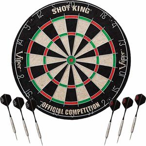 2. Viper Shot King Regulation Bristle Steel Tip Dartboard Set