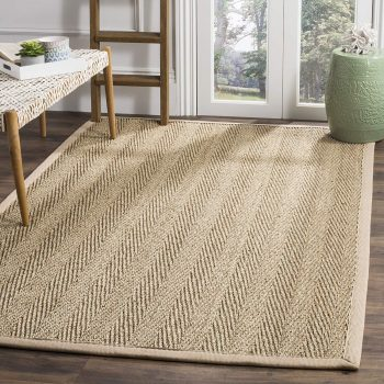 Safavieh Natural Fiber Collections Herringbone Natural and Beige Seagrass Square Area Rug
