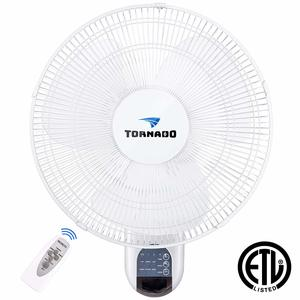 3. Tornado 16 Inch Digital Wall Mount Fan - 3 Speed Settings -- 65 Inches Power Cord - ETL Safety Listed