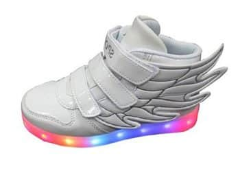 Littlepanda Kid boy Girl LED Light up Sneaker Athletic Wings Shoe High Student Dance Boot USB Charge