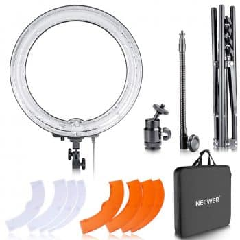 "Neewer 18"" Dimmable Fluorescent Ring Light Kit: 75W 5500K Ring Light"