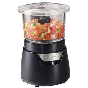 6. Hamilton Beach Stack & Press Mini 3-Cup Glass Bowl Food Processor