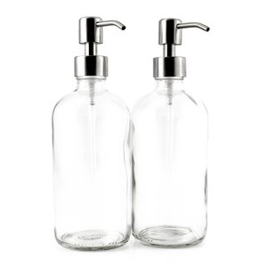 7. 16-Ounce Clear Glass Boston Round Bottles w Stainless Steel Pumps (2 Pack)