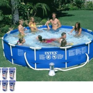 Intex Metal Frame Set Inflatable Swimming Pool (12 by 30 inch)