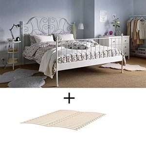 8. Ikea Full Size Metal Country Style Bed Frame with Slatted Base