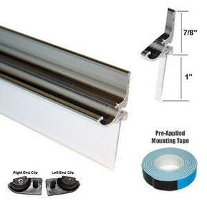 9. Chrome Framed Shower Door Replacement Drip Rail with Vinyl Sweep - 32 Long