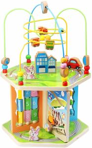 9. ZONXIE Wooden 7 in 1 Baby Activity Play Cube