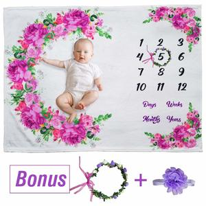 #10- Buy It Better Here Floral Baby Monthly Milestone Blanket