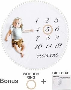 #4- HAN-MM Baby Monthly Milestone Blanket with Wooden Circle