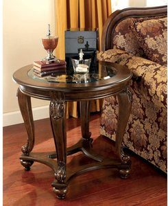 #4 Signature Design by Ashley - Dark Brown, Norcastle Traditional Table,