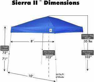 7. E-Z UP SR9104BL Sierra II 10 x 10-Feet Canopy