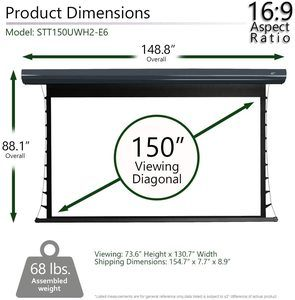 #1 Elite Screens Starling Tab Tensioned Electric Motorized Projector Screen