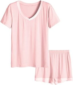 #1 Latuza Women's V-Neck Short Sleeve Pajama Set