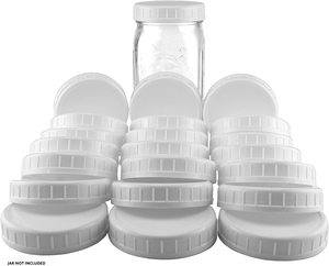 #1 Two Dozen Wide Mouth Plastic Mason Jar Lids (24-Pack Bundle)