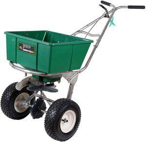 10. Lesco High Wheel Fertilizer Spreader, Manual Deflector…