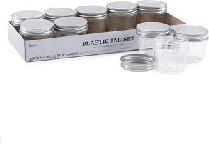 #11 Darice 30066471 Plastic Jars with Lids 4 Ounces, 10 Pack, Clear