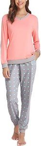 #3 Hawiton Women's Long Sleeve Cotton Pajamas Set