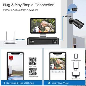 #3. ZOSI 1080p H.265+ PoE 8CH Home Security Camera, for Outdoor Indoor