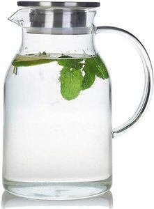 #5 68 Ounces Glass Pitcher with Lid, Ice Tea and Juice Beverage