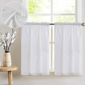 #5 jinchan White Tiers Waffle Woven Short Curtains