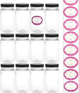#7 8 Ounce Tall Clear Empty Plastic Jars with Screw-on Lids & Labels