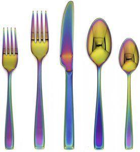 7. Cambridge Silversmiths Mirror 20 Piece Logan Rainbow Flatware Set