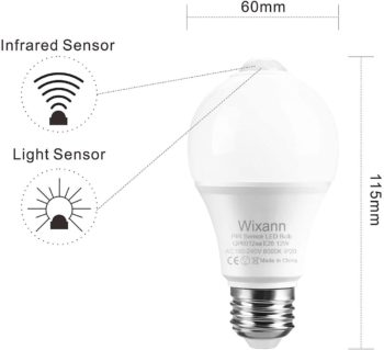 #7. Wixann 12W Motion Sensor Light Bulbs, (100W Equivalent)