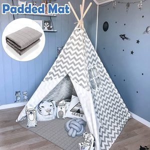 #1. Teepee Tent for Indoor & Outdoor, Kids Tent with Padded Ma