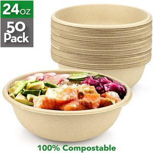 #10 50 Count HeloGreen 24-Ounce Compostable Bowls