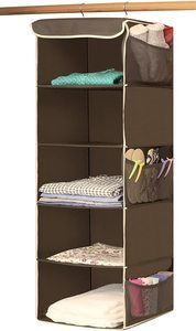 #2. Simple Houseware Hanging Closet Organizer, 5 Shelves, Bronze