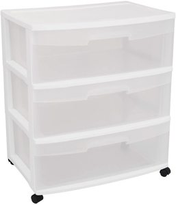 #4. STERILITE 29308001 3 Drawer Cart, Wide, White
