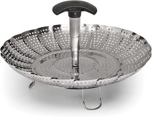 #5. OXO Stainless Steel 7-Inch Good Grips Steamer - Extendable Handle,