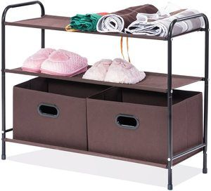 #6. MaidMAX 3 Tiers Shelf Organizer for closet with 2 Drawers