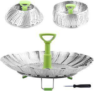 #6. Steamer Basket Vegetable Steamer Basket Stainless Steel Folding Steamer