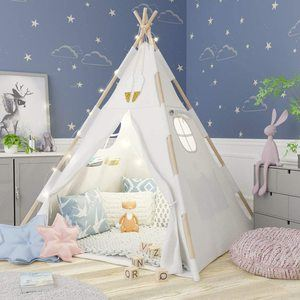 #6. TazzToys Kids Teepee Tent with Fairy Lights for Kids