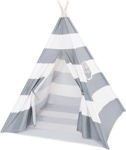 #7. DalosDream Grey Striped Teepee Tent100% Natural Cotton Canvas