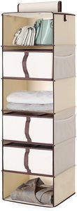 #8. StorageWorks 6-Shelf Beige Hanging Closet Shelves