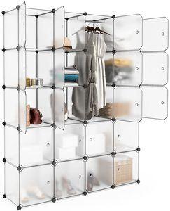 #9. LANGRIA 20 Cubby Cube Organizer Shelving Closet System Plastic
