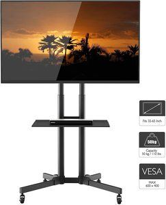 #1. Home Rolling TV Cart Mobile TV Stand